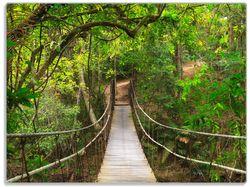 Glasunterlage Hängebrücke im Urwald  grüner Dschungel – Bild 1