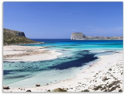 Glasunterlage Einsame Bucht mit weißem Sand und klarem Wasser – Bild 1
