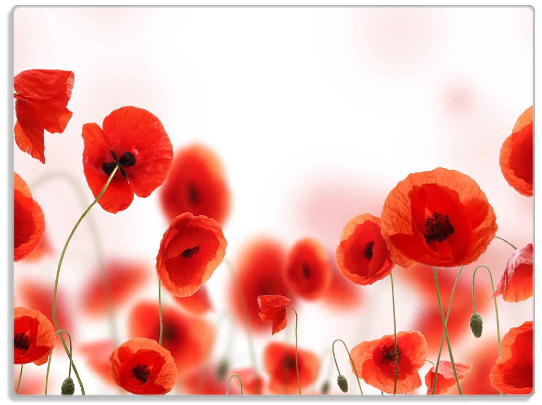 Glasunterlage Leuchtende Mohnblumen - Rote Mohnblumenblüten – Bild 1