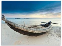 Glasunterlage Fischerboot am Strand mit Sonnenuntergang – Bild 1