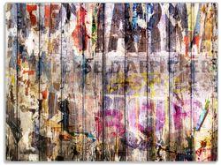 Glasunterlage Bemalte Holzplanken mit alter Schrift – Bild 1