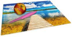 Glasunterlage Klarer See mit Steg - Blauer Himmel – Bild 2