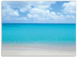 Glasunterlage Sandstrand und blaues Meer – Bild 1