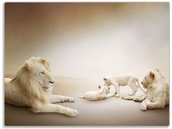 Glasunterlage Löwenfamilie mit Jungtieren – Bild 1