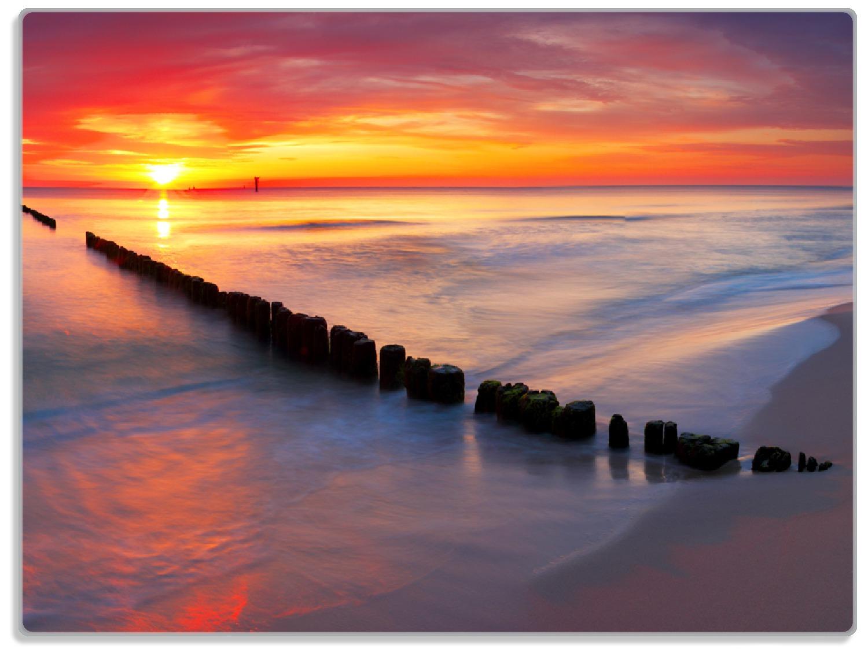 Glasunterlage Farbenspiel im Himmel - Sonnenuntergang am Strand – Bild 1
