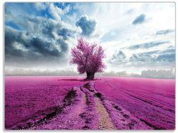 Glasunterlage Surreales Blumenfeld, lila Blumen auf dem Feld – Bild 1