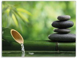 Glasunterlage Steinstapel und Bambus auf dem Wasser – Bild 1