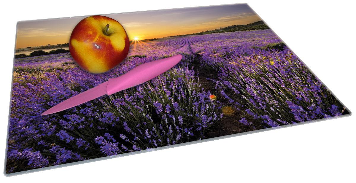 Glasunterlage Sonnenuntergang über dem Lavendel – Bild 2