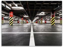 Glasunterlage Perspektive von unten, leeres Parkhaus im Untergrund – Bild 1
