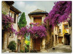 Glasunterlage Malerische Stadt in der Provence mit bunten Blumen – Bild 1
