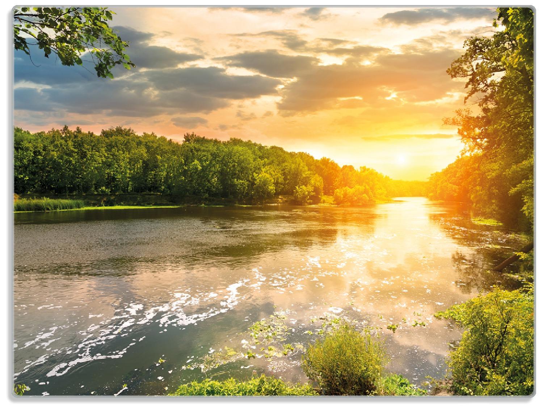 Glasunterlage Sonnenuntergang am Fluss in grüner Umgebung – Bild 1