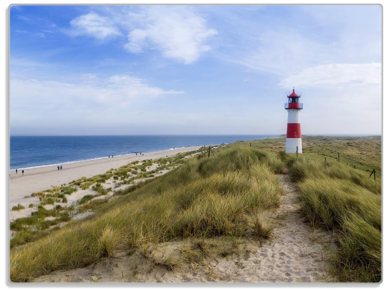 Glasunterlage Am Strand von Sylt  Leuchtturm auf der Düne  Panorama – Bild 1