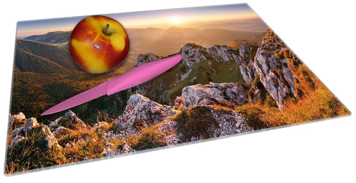Glasunterlage Berglandschaft mit Sonnenuntergang in der Slowakei – Bild 2