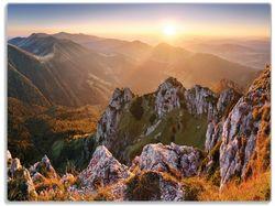 Glasunterlage Berglandschaft mit Sonnenuntergang in der Slowakei – Bild 1