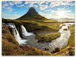 Glasunterlage Island Panorama Fluss, Berge und blauer Himmel – Bild 1