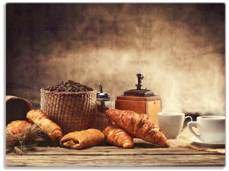 Glasunterlage Französisches Frühstück mit Café und Croissants – Bild 1