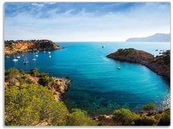 Glasunterlage Ibiza - Blick von einer Bucht aufs Meer – Bild 1