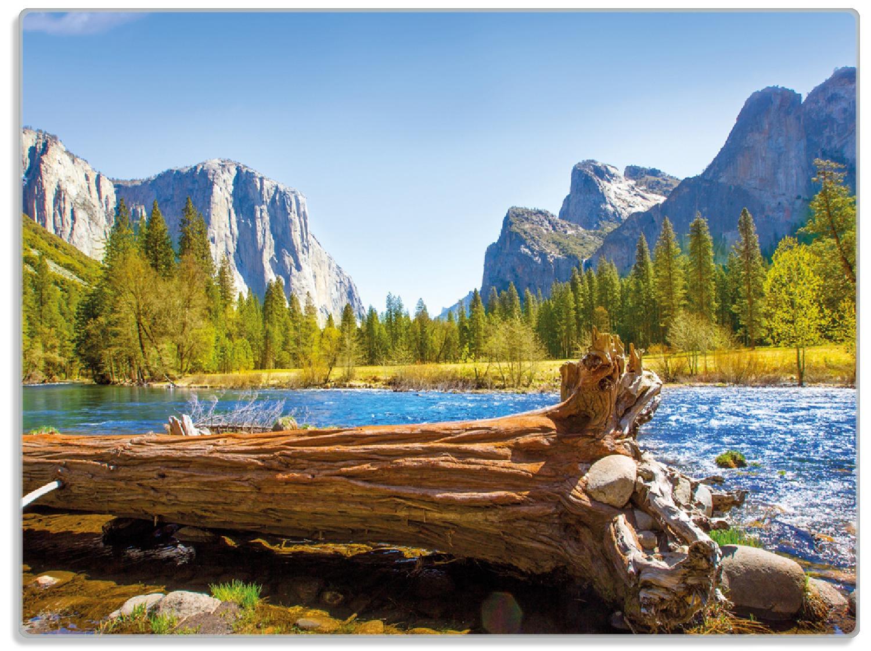 Glasunterlage Baumstamm im Fluss zwischen Bergen und Wäldern – Bild 1