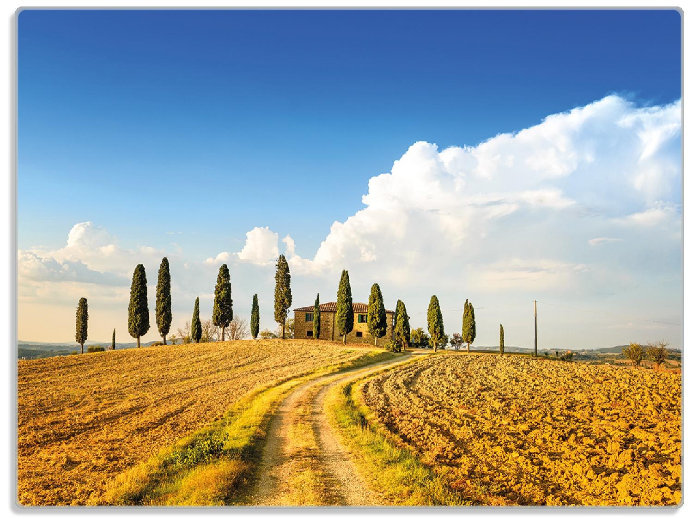 Glasunterlage Italien - Toskana unter blauem Himmel, einsame Farm – Bild 1