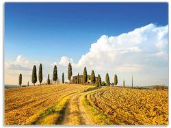 Glasunterlage Italien - Toskana unter blauem Himmel  einsame Farm – Bild 1