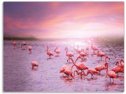 Glasunterlage Rosa Flamingos bei Sonnenuntergang – Bild 1