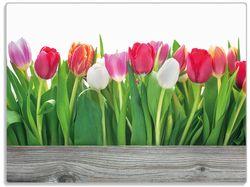 Glasunterlage Rote  weiße und pinke Tulpen im Frühling – Bild 1