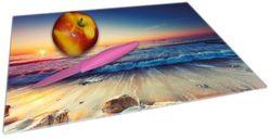 Glasunterlage Sonnenuntergang am Meer mit Wellen am Strand – Bild 2