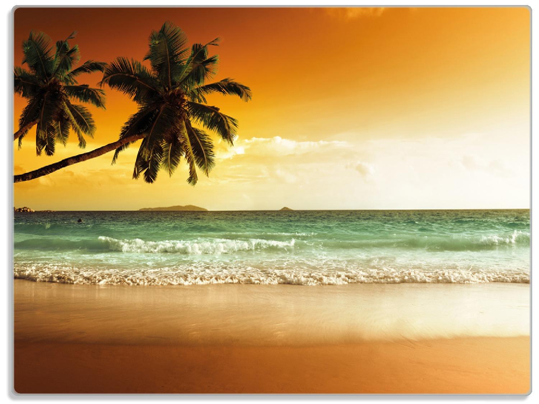 Glasunterlage Palmen am Sandstrand bei untergehender Sonne – Bild 1