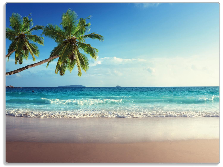 Glasunterlage Sandstrand auf den Seychellen - Urlaub unter Palmen – Bild 1