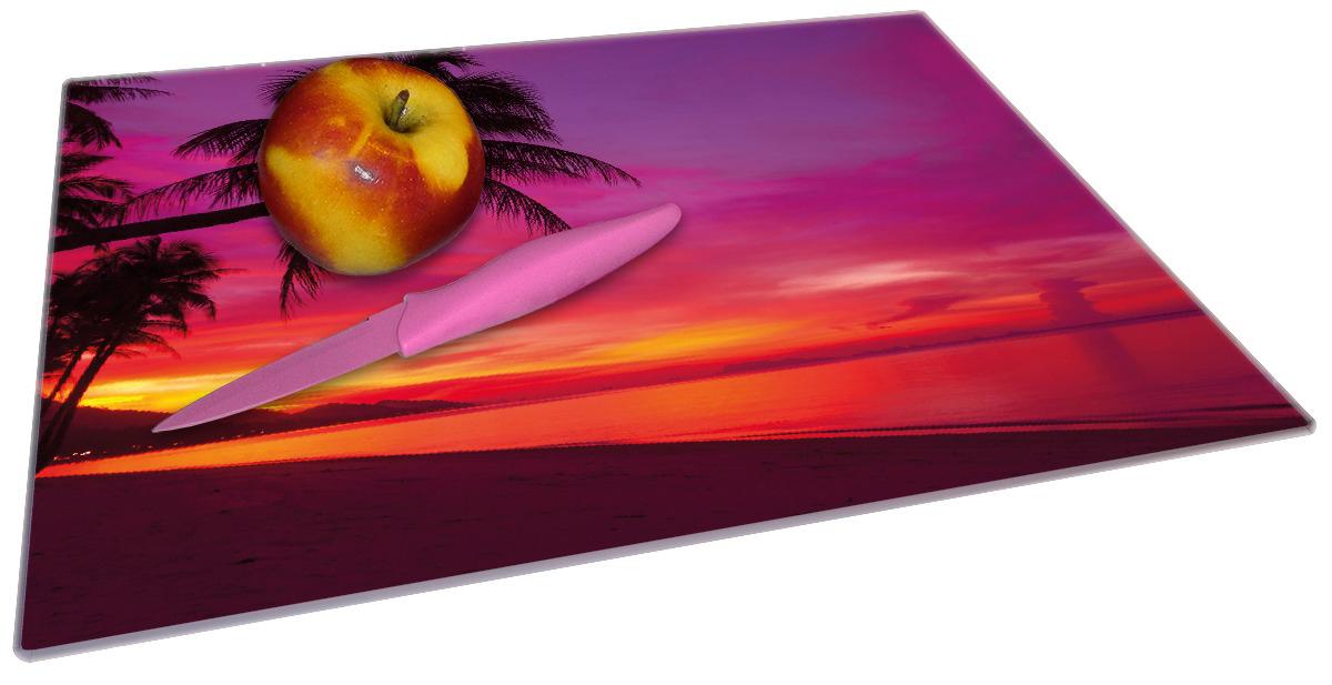 Glasunterlage Abendrot unter Palmen - pinker Himmel am Strand – Bild 2
