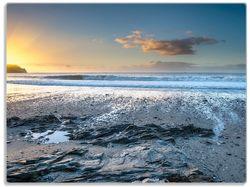 Glasunterlage Einsamer Strand in Cornwall, England – Bild 1