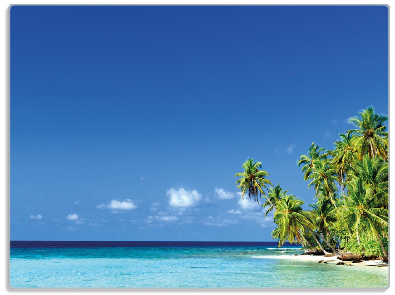 Glasunterlage Blauer Himmel  weißer Strand  Palmen und das tiefblaue Meer – Bild 1
