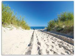 Glasunterlage Auf dem Sandweg zum Strand - Blauer Himmel über dem Meer – Bild 1