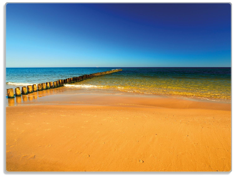 Glasunterlage Sandstrand in orange - Blaues Meer - Blauer Himmel – Bild 1