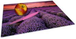 Glasunterlage Lavendelfeld unter rotem Himmel – Bild 2