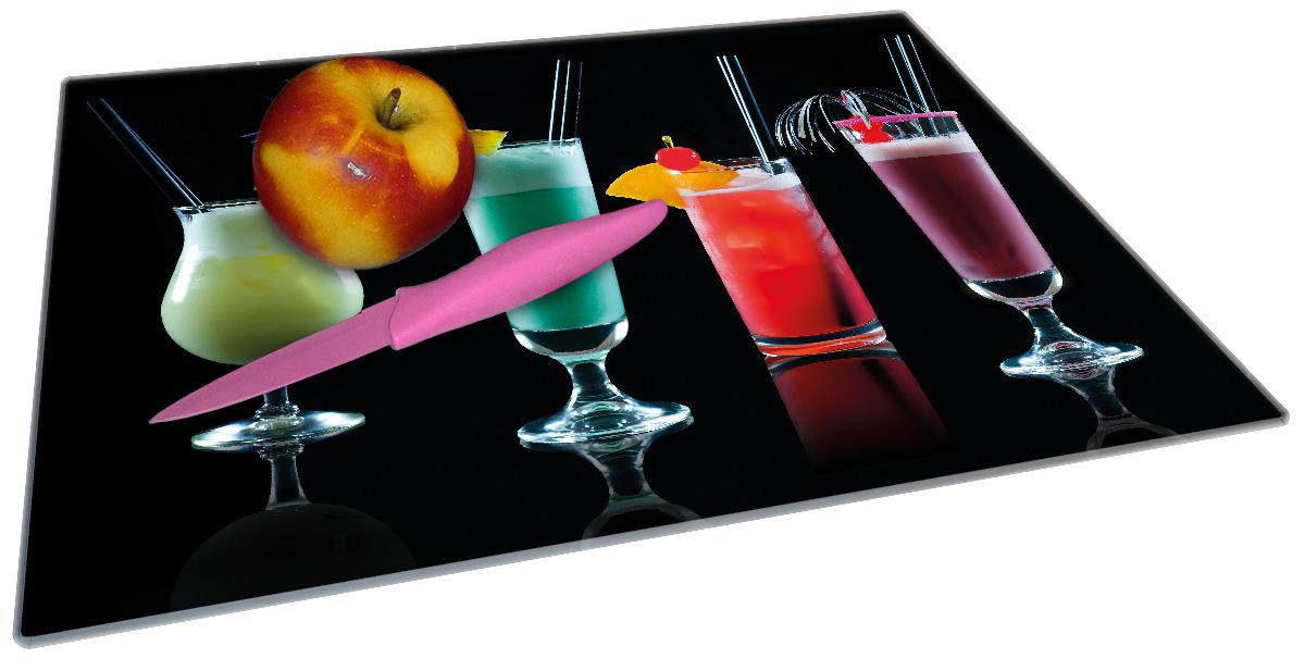 Glasunterlage Bunte Cocktails vor schwarzem Hintergrund – Bild 2