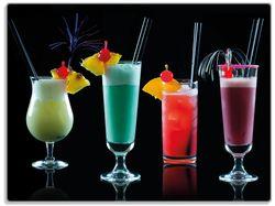 Glasunterlage Bunte Cocktails vor schwarzem Hintergrund – Bild 1
