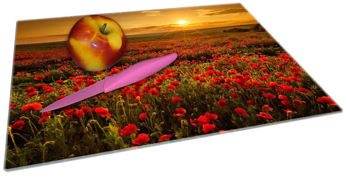 Glasunterlage Mohnblumenwiese bei Sonnenuntergang am Abend – Bild 2