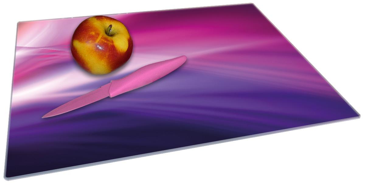 Glasunterlage Abstrakte Formen und Linien in pink lila – Bild 2