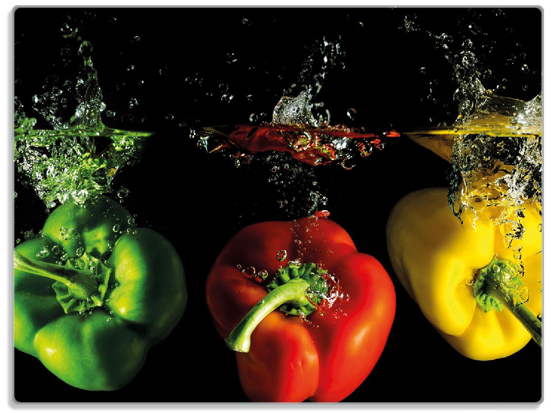 Glasunterlage Bunte Küche  Paprika in rot  gelb  orange und grün im Wasser – Bild 1