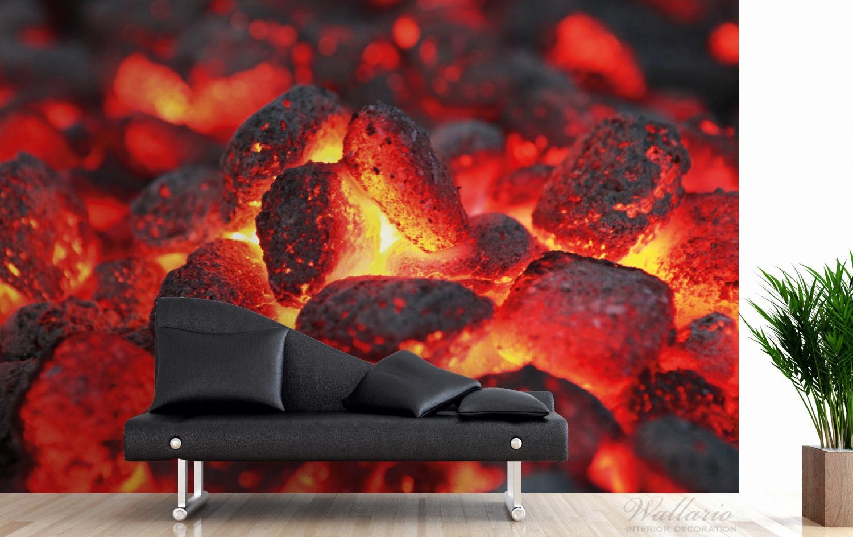 Vliestapete Glühende Kohlen im Kamin – Bild 3