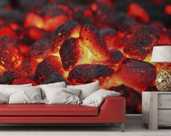 Vliestapete Glühende Kohlen im Kamin – Bild 2