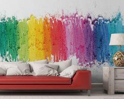 Vliestapete Regenbogenstreifen auf weißem Hintergrund - Bunter Anstrich – Bild 2
