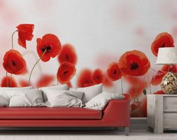 Vliestapete Leuchtende Mohnblumen - Rote Mohnblumenblüten – Bild 2