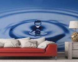 Vliestapete Wassertropfen im blauen Wasser – Bild 2