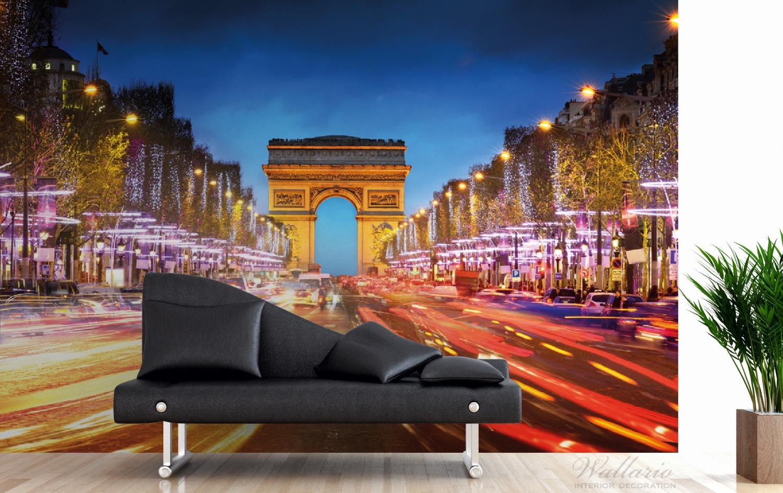 Vliestapete Arc de triomphe in Paris bei Nacht – Bild 3