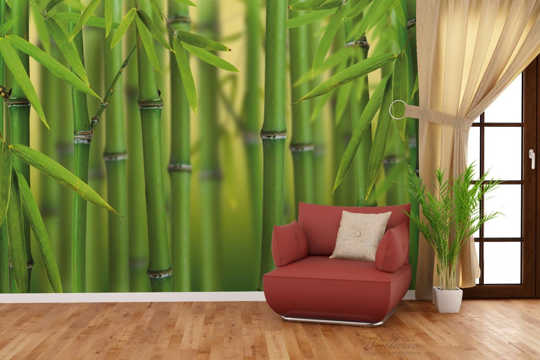 Vliestapete Grüner Bambuswald – Bild 4