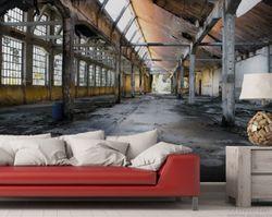Vliestapete Alte Industriehalle  leerstehend und einsam – Bild 2