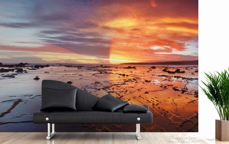 Vliestapete Wattwanderung am Meer bei Sonnenuntergang – Bild 3