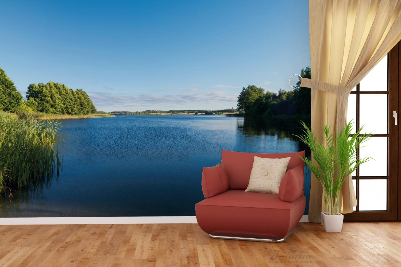 Vliestapete Malerischer See mit Schilf unter blauem Himmel – Bild 4